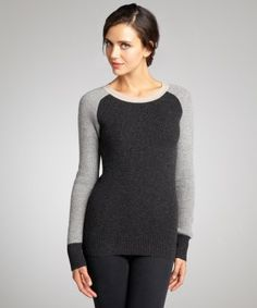 Wyatt : charcoal, heather and oatmeal waffle knit raglan sleeve cashmere sweater : style # 323262701