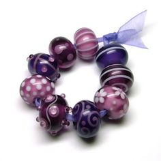 Bouquet of purple - beautiful lampwork beads