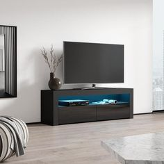 Milano Classic Modern 16 color 63-inch TV Stand | Overstock.com Shopping - The Best Deals on Entertainment Centers - Gray/Wavy Black Tv Stand Overstock, Led Tv Stand, Cool Tv Stands, Modern Tv Stands, Black Tv Stand, Living Room Entertainment Center, Living Room Tv Unit Designs, Bright Rooms, Living Room Storage