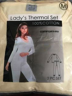 92f7aa2089c Details about NINES Lady's Thermal Set 100% Cotton Comfort Fit Medium