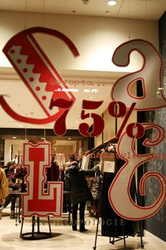 Love this take on the stock standard sale signs of big department stores. Will defs find a way to incorporate this next sale season Window Display Design, Shop Window Displays, Anthropologie Sale, Pop Design, Design Ideas, Visual Display, For Sale Sign, Shop Signs, Wood Colors