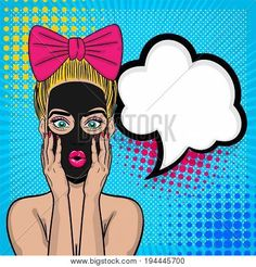 Beautiful sexy girl blonde hair pink bow, wow oops face open mouth in style pop art cosmetic black mask. Comic book retro halftone background. Vector advertise illustration. Comic text speech bubble.