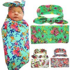 Vintage Newborn Baby Floral Swaddle Knit Blanket & Bow Knot Headband Headdress