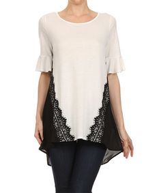 Love this White & Black Lace Hi-Low Top by Vision on #zulily! #zulilyfinds