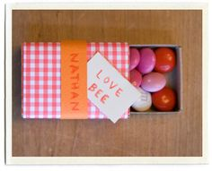 Valentines - matchbox filled with mini m&m's and wrapped in cute paper