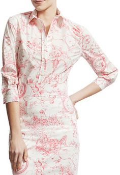 Carolina Herrera Marilyn Toile Button-Down Blouse on shopstyle.com
