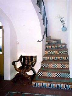 tiled stairs...spanish style home.