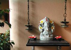 like this look with ganesha and hanging lamps More