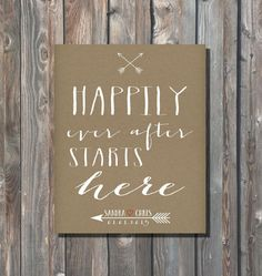 Personalized Wedding Sign-Happily Ever After Starts Here-Rustic Kraft Sign-Minimalist Wedding Sign-Wedding Typography, Monogram-Arrow Heart