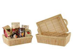 3 Asst. Bamboo Shallow Baskets on OneKingsLane.com