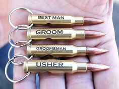 Always be ready for a cold one with the bullet bottle opener keychain! Our engra… Always be ready for a cold one with the bullet bottle opener keychain! Our engraved bullet keychain gifts are perfect for weddings, birthdays, and more! Gifts For Wedding Party, Party Gifts, Wedding Favors, Wedding Invitations, Wedding Parties, Wedding Table, Crafty Wedding Ideas, Wedding Venues, Custom Wedding Gifts