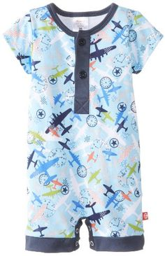 Zutano Baby-Boys Newborn Aviation Henley Bodysuit, Bluebird, 6 Months