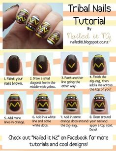 Love this tribal look, I want to see if my salon can do this in gel..