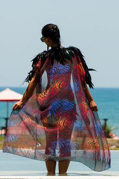 Love Khaos Feather Collar Kimono in Rainbow zebra or white, floor length long open front robe, leather trim jacket festival coat, shoulder epaulettes Festival Coats, Festival Outfits, Festival Fashion, Festival Wear, Burning Man Fashion, Burning Man Outfits, Sequin Coats, Rainbow Zebra, Kimono Duster