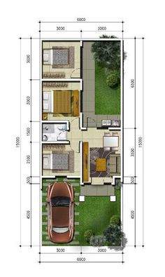 Denah rumah minimalis ukuran 6x15 meter 3 kamar tidur 1 lantai + tampak depan ~ 1000+ Inspirasi Desain Arsitektur Teknologi Konstruksi dan Kreasi Seni Narrow House Designs, Modern Small House Design, Simple House Design, House Front Design, Minimalist House Design, Small House Floor Plans, Home Design Floor Plans, My House Plans, Bungalow House Plans