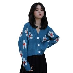 Korean style V-neck long-sleeved knitted retro sweater - Power Day Sale#newin #newarrivals #justdropped #newseason #fashionintrend Fashion Colours, Blue Fashion, Look Fashion, Korean Fashion, Fashion Styles, Fall Fashion Trends, Latest Fashion Trends, Stylish Winter Outfits, Blue Style