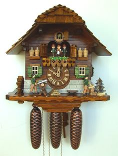 Wooden dial, hands and numerals Full automatic night shut-off Dancing couples, hand-painted resin #Wooden #cuckoo #clock Plays 2 melodies, 28 notes Woodsawer and woodchopper Music on the full hour Turning Mill-Wheel Official #Black #Forest #Clock certified by the VDS Made in #Germany.
