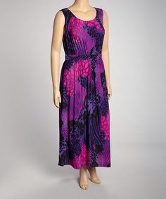 Take a look at this Purple Feline Sleeveless Dress - Plus by Highness NYC on #zulily today! $25 !!