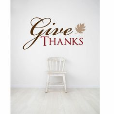 Give Thanks Wall Decal Fall Decal Thanksgiving Decal by luxeloft