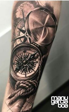 Tatouage avant-bras – Brenda O. Forearm Sleeve Tattoos, Tattoo Sleeve Designs, Tattoo Designs Men, Sea Tattoo Sleeve, Nautical Tattoo Sleeve, Pocket Watch Tattoos, Map Tattoos, Body Art Tattoos, Tatoos