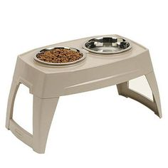 Pet Dog Feeding Stainless Steel Bowls Tray Large Food Water Dish Feeder Floor #Suncast