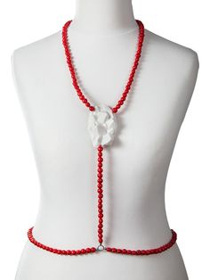 colier corporal lady magpie Body Necklace, Beaded Necklace, Red Coral, Jewlery, Magpie, Beads, Fashion, O Beads, Moda