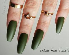 Olive Military Army Green Matte/Glossy Fake Press On Nails - Stiletto, Oval, Square, Coffin/Ballerina