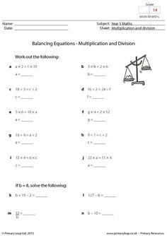 math worksheet : primaryleap co uk  balancing equations  addition and subtraction  : Multiplication And Division Equations Worksheets