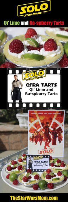 Qi'ra Tarts - Solo: A Star Wars Story Party Theme Food and Label. Qi' Lime and Ra-spberry Tarts. Tart Recipes, Dessert Recipes, Desserts, Star Wars Party, Food Labels, Key Lime, Starwars, Tarts, Party Planning