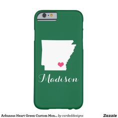 Arkansas Heart Green Custom Monogram Barely There iPhone 6 Case