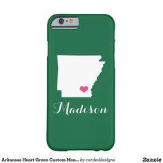 Arkansas Heart Green Custom Monogram Barely There iPhone 6 Case