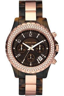 MICHAEL KORS MK5416 Madison rose gold and tortoiseshell chronograph watch