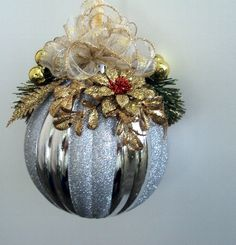 Silver 6 Inch Christmas Ball Ornament Shatterproof Embellished With Gold And a Little Red