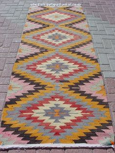 "Modern Bohemian Home Decor/ Vintage Handwoven Wool Turkish Kilim Rug Runner Carpet, Area Rug Carpet 25,1"" X 106,2"""