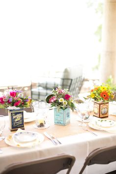 Tea or coffee tins would be cute for brunch reception.