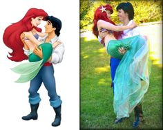 Made this pose thinking about this shot, i think we did pretty well. screenshot is all rights to disney! Ariel and Eric Cute Couples Costumes, Ariel Costumes, Cute Couple Halloween Costumes, Cosplay Costumes, Group Costumes, Halloween 2020, Halloween Party, Little Mermaid Cosplay, Little Mermaid Costumes
