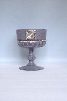 Candle Holder Purple Vintage Glass Stemmed Sundae Dish Diamante Wedding Candle Gift Idea Garden Light Tealight Holder Table Decoration by LouLaBelleG on Etsy