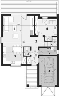 Rzut parteru projektu Maja Three Bedroom House, Bungalow, Colonial, House Plans, Villa, Floor Plans, Construction, Flooring, How To Plan
