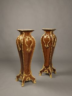 We are celebrating our 100th Pin on Pinterest with this Fine Pair of Antique Louis XV Style Gilt-Bronze Mounted Kingwood and Parquetry Inlaid Pedestals. The bronze mounts by Henry Picard. French, Circa 1880.