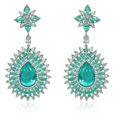 Sutra Paraiba drop earrings in white gold set with 39ct of Paraiba tourmalines and 7ct of diamonds.