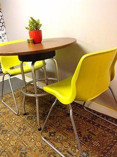 1950's Woodgrain Formica Refurbished Table or Retro Kitchen Island
