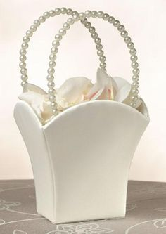 Lillian Rose FB400 I Plain Satin Flower Basket-Ivory
