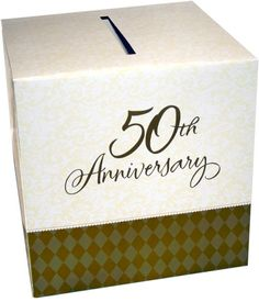 Need a cute card box Anniversary Parties, Anniversary Cards, Golden Anniversary, Cute Cards, Mom And Dad, 50th, Party Ideas, Place Card Holders, Decorations