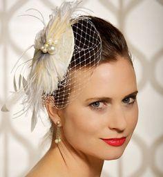 Bridal Fascinator, Birdcage Veil, Bridal Headpiece, Hair Clip, Wedding Hair Accessories, Veil Headpiece - Made to Order - CAROLINE