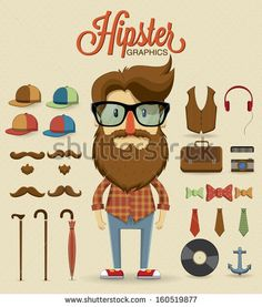 Hipster character design with hipster elements and icons.Vector illustration by Kovacs Tamas, via Shutterstock