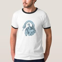 Hand Holding Mortar and Pestle with Snake Drawing T-Shirt. Drawing sketch style illustration of a hand holding mortar and pestle with snake on isolated white background. #Drawingsketch #HandHoldingMortarandPestlewithSnake