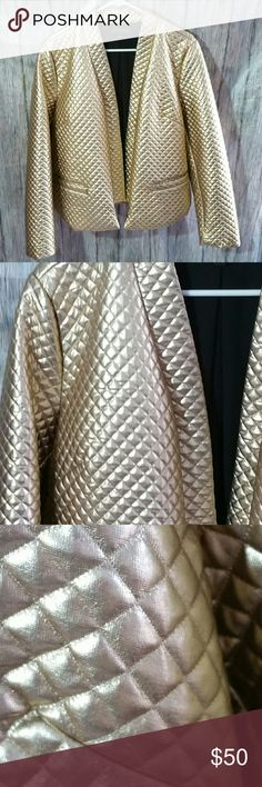 Eloquii Gold Quilted Jacket EUC No flaws or marks Eloquii Jackets & Coats Blazers