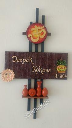 Handmade customised Nameplate made for a yoga teacher. Diy Crafts Hacks, Diy Crafts For Gifts, Diy Home Crafts, Creative Crafts, Diys, Popsicle Stick Crafts House, Craft Stick Crafts, Clay Crafts, Wooden Name Plates