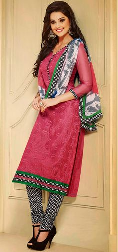 USD 25.46 Light Pink Chanderi Churidar Suit 44463