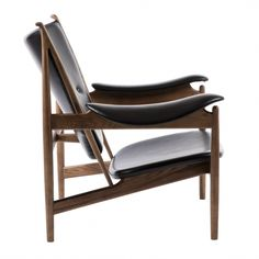 Chieftain Chair - Black Leather Walnut Stained Ash